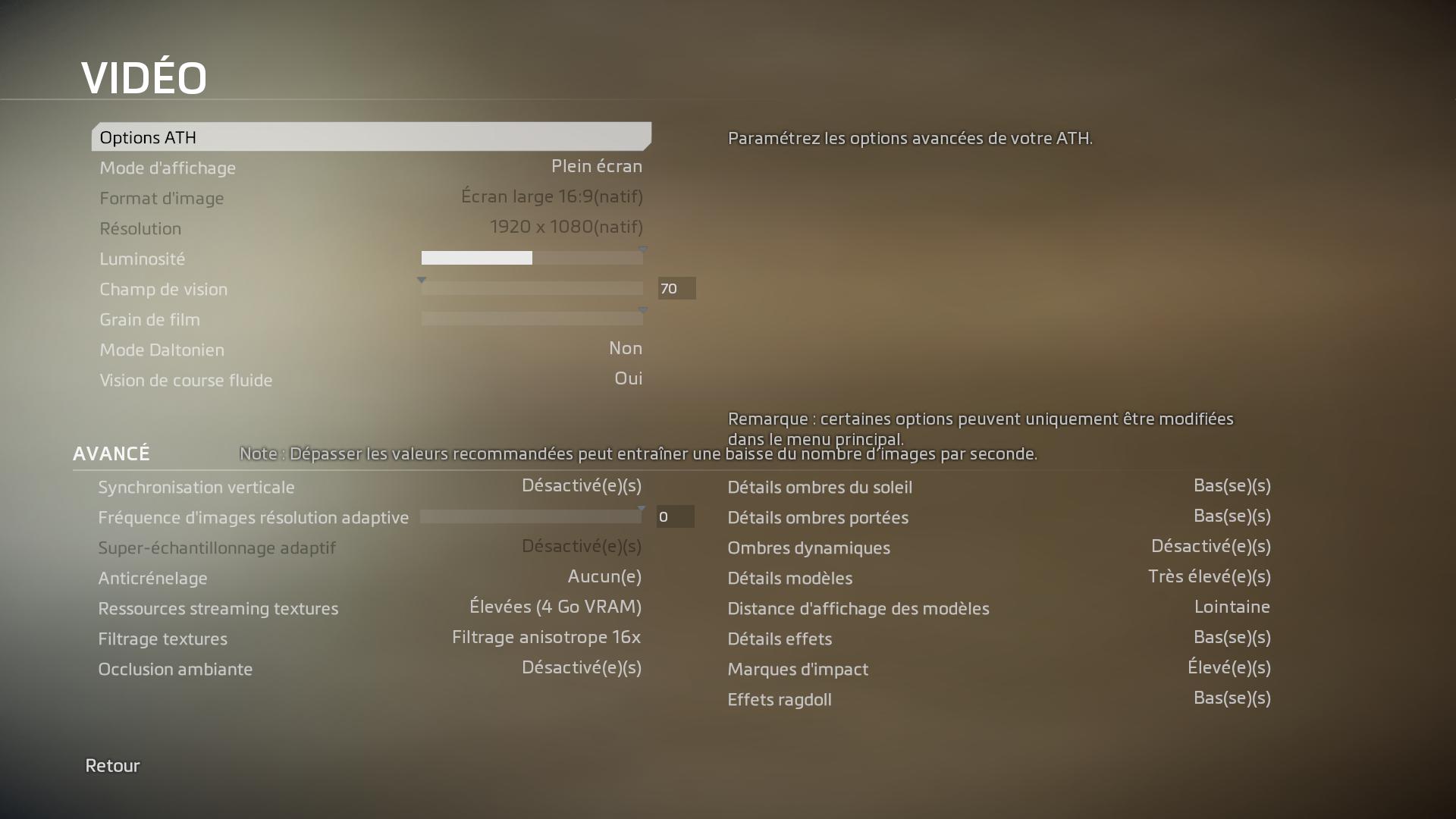 Titanfall 2 paramètres vidéo graphique