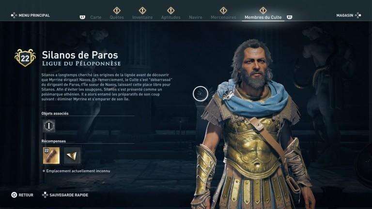 Assassin's Creed Odyssey trouver et tuer les adeptes du culte du Kosmos, ps4,, xbox one, pc, ubisoft, jeu vidéo, silanos de paros, ligue du péloponèse