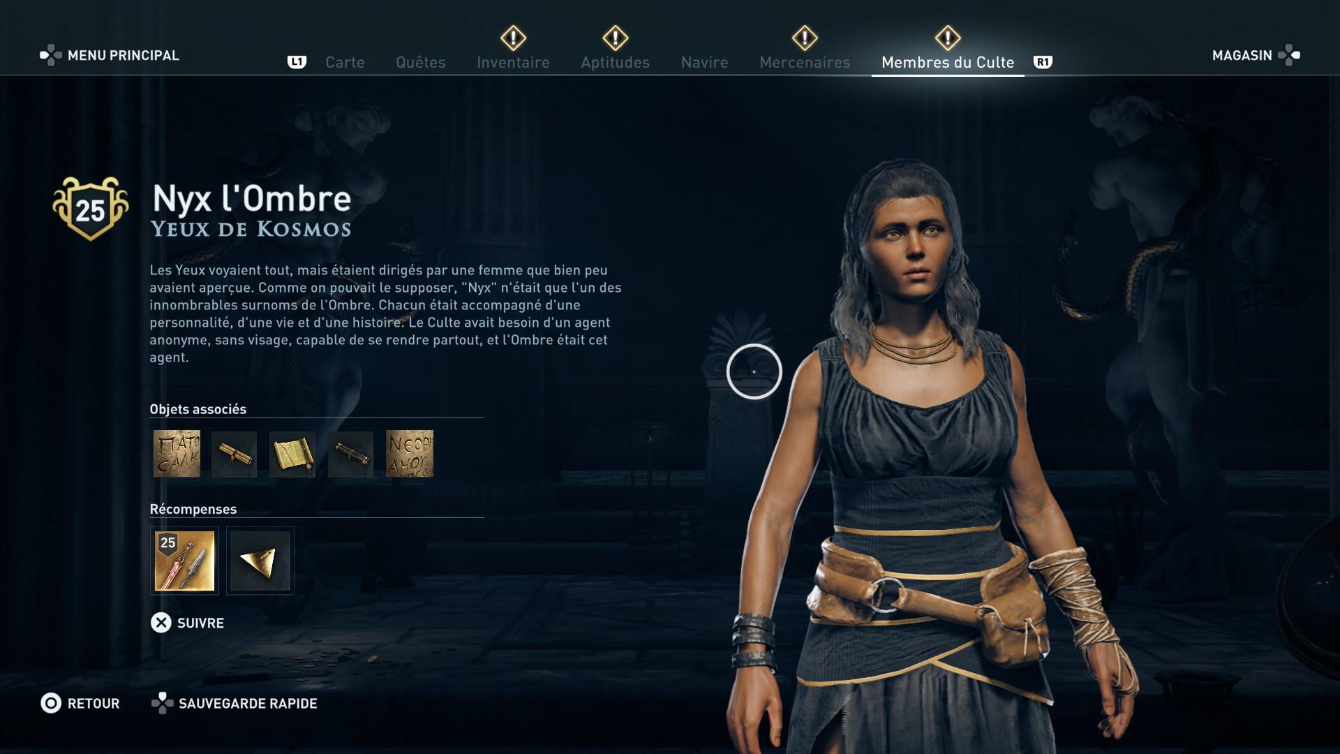 Assassin's Creed Odyssey trouver et tuer les adeptes du culte du Kosmos, ps4, xbox one, pc, ubisoft, jeu vidéo, Yeux de Kosmos, nyx l'ombre