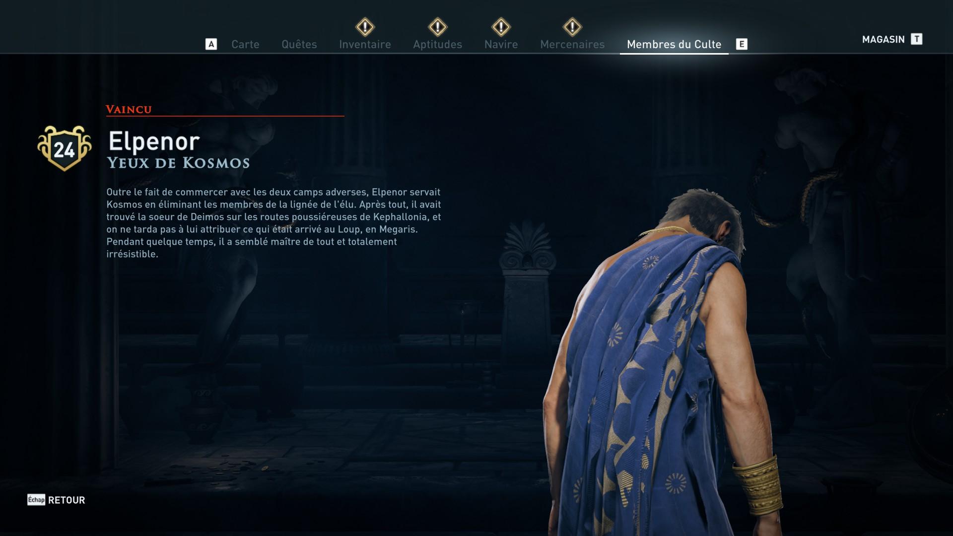 Assassin's Creed Odyssey trouver et tuer les adeptes du culte du Kosmos, ps4, xbox one, pc, ubisoft, jeu vidéo, Yeux de Kosmos, elpenor