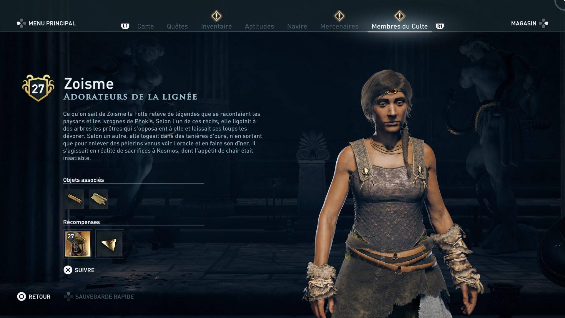 Assassin's Creed Odyssey trouver et tuer les adeptes du culte du Kosmos, ps4, xbox one, pc, ubisoft, jeu vidéo, adorateur de la lignée, zoisme
