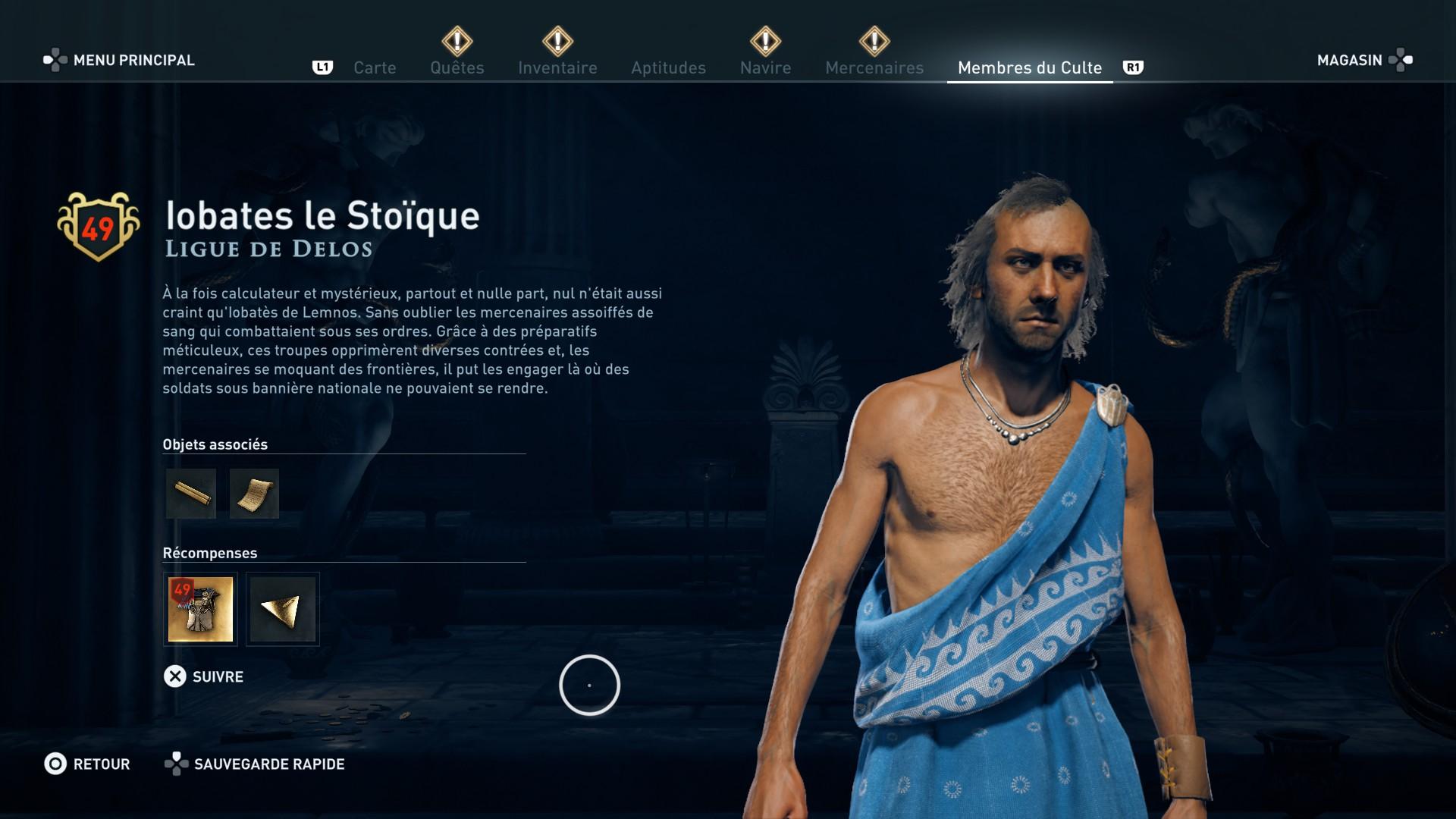 Assassin's Creed Odyssey trouver et tuer les adeptes du culte du Kosmos, ps4, xbox one, pc, ubisoft, jeu vidéo, ligue de delos, iobates le stoïque