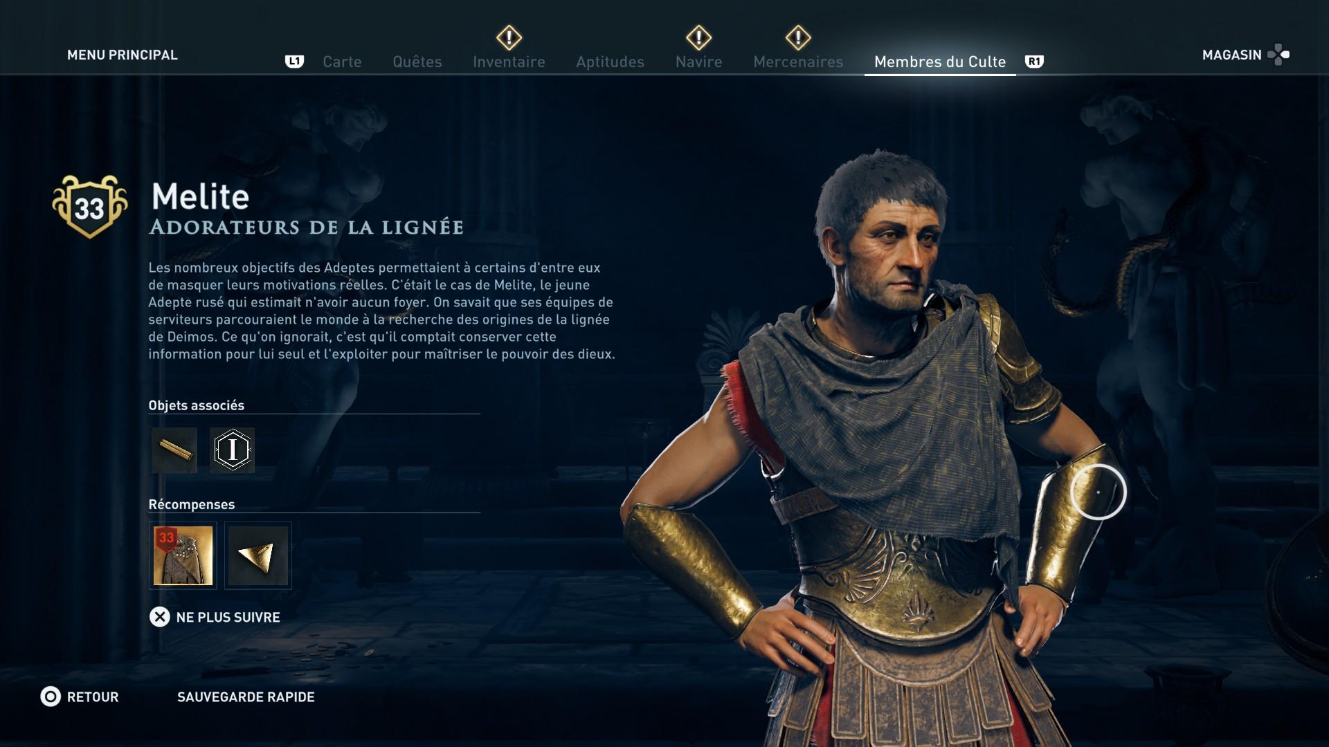 Assassin's Creed Odyssey trouver et tuer les adeptes du culte du Kosmos, ps4, xbox one, pc, ubisoft, jeu vidéo, adorateur de la lignée