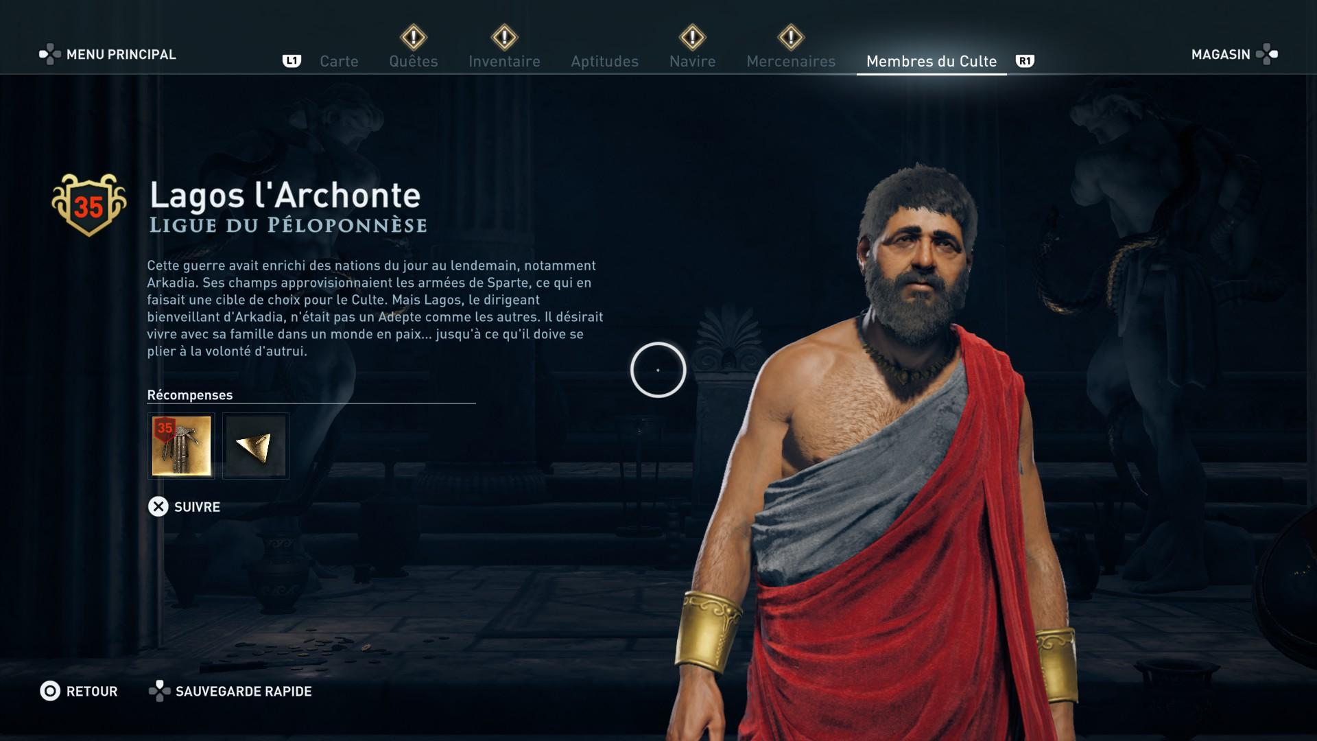 Assassin's Creed Odyssey trouver et tuer les adeptes du culte du Kosmos, ps4, xbox one, pc, ubisoft, jeu vidéo, Deimos l'élu