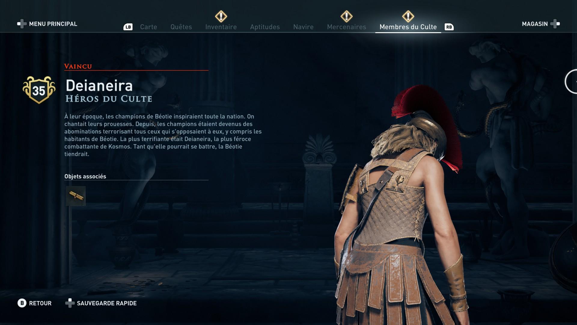 Assassin's Creed Odyssey trouver et tuer les adeptes du culte du Kosmos, ps4, xbox one, pc, ubisoft, jeu vidéo, Deianeira héros du culte