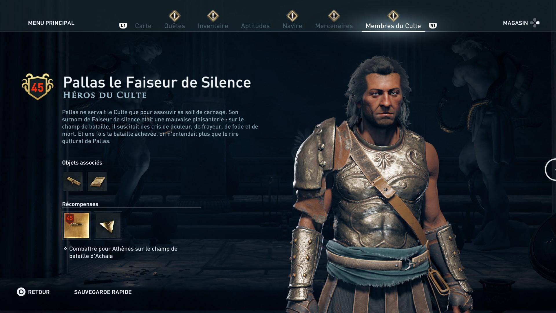 Assassin's Creed Odyssey trouver et tuer les adeptes du culte du Kosmos, ps4, xbox one, pc, ubisoft, jeu vidéo, pallas le faiseur de silence