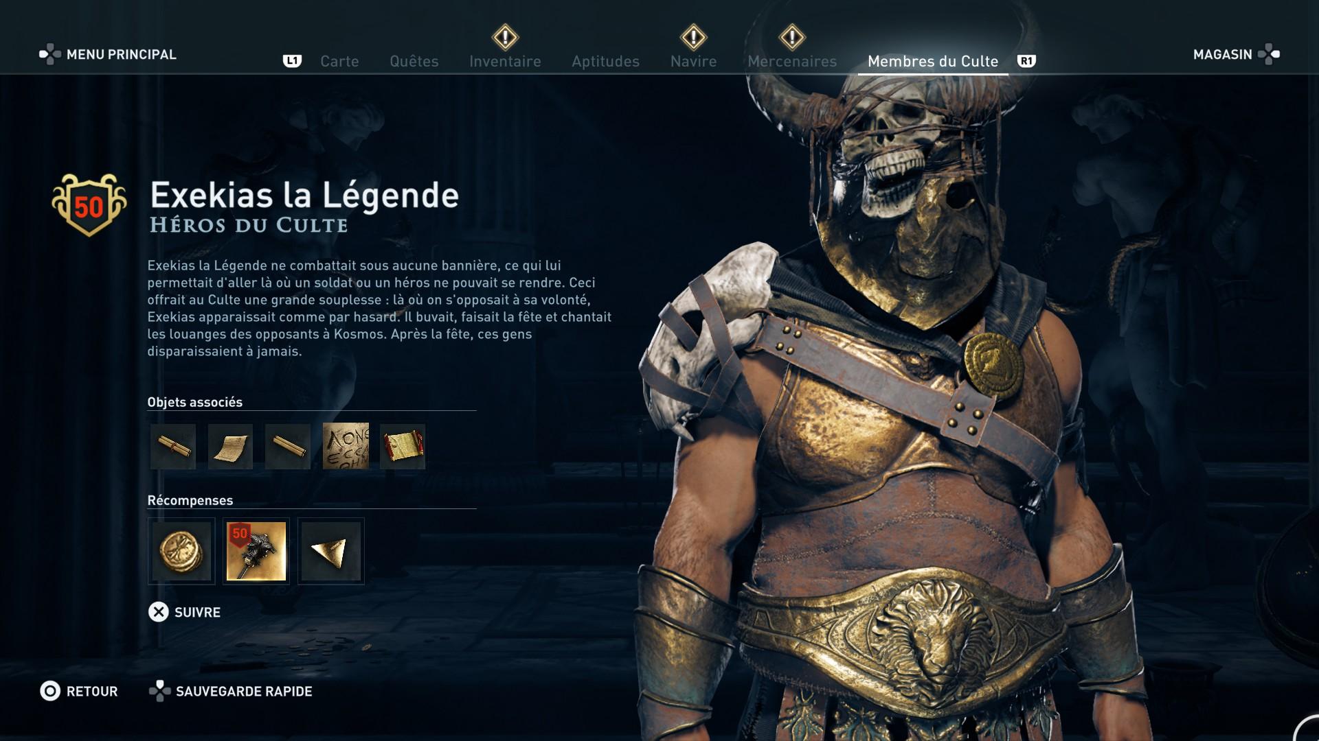 Assassin's Creed Odyssey trouver et tuer les adeptes du culte du Kosmos, ps4, xbox one, pc, ubisoft, jeu vidéo, héros du culte, exekias la légende