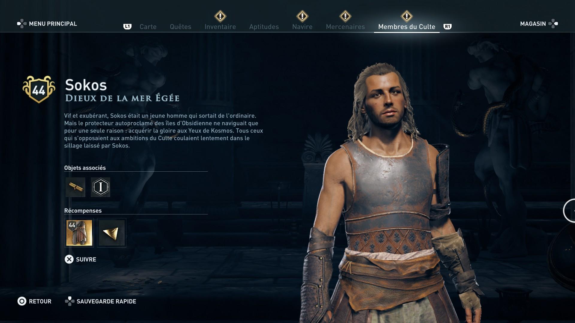 Assassin's Creed Odyssey trouver et tuer les adeptes du culte du Kosmos, ps4, xbox one, pc, ubisoft, jeu vidéo, sokos, dieux de la mer égée