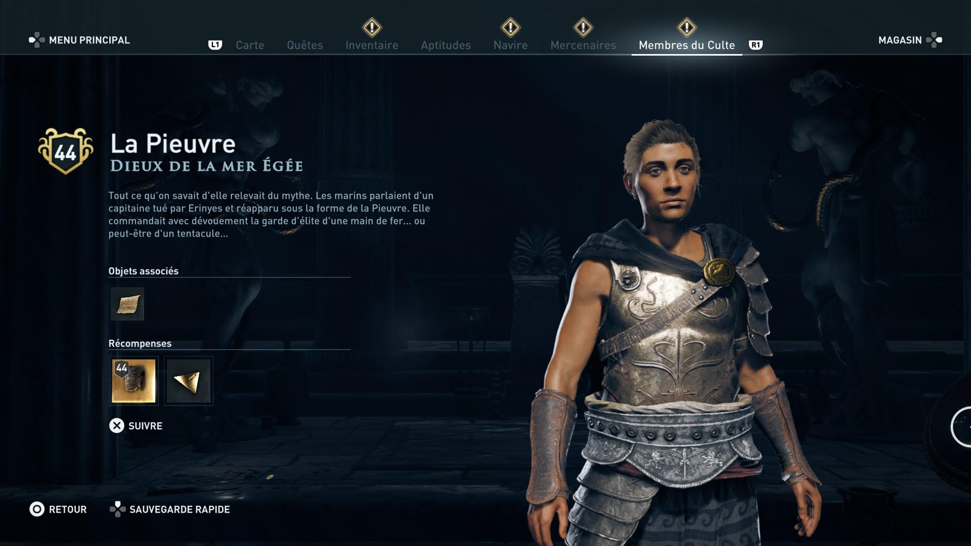 Assassin's Creed Odyssey trouver et tuer les adeptes du culte du Kosmos, ps4, xbox one, pc, ubisoft, jeu vidéo, la pieuvre, dieux de la mer égée