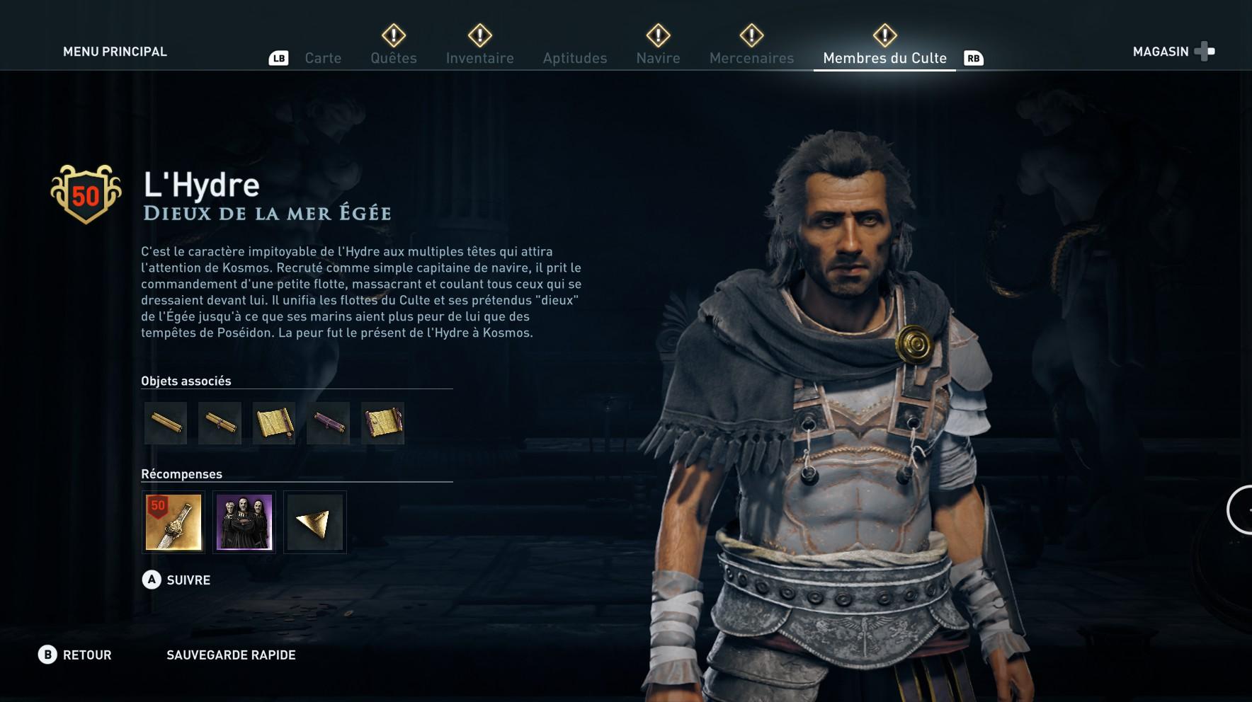 Assassin's Creed Odyssey trouver et tuer les adeptes du culte du Kosmos, ps4, xbox one, pc, ubisoft, jeu vidéo, dieux de la mer égée l'hydre