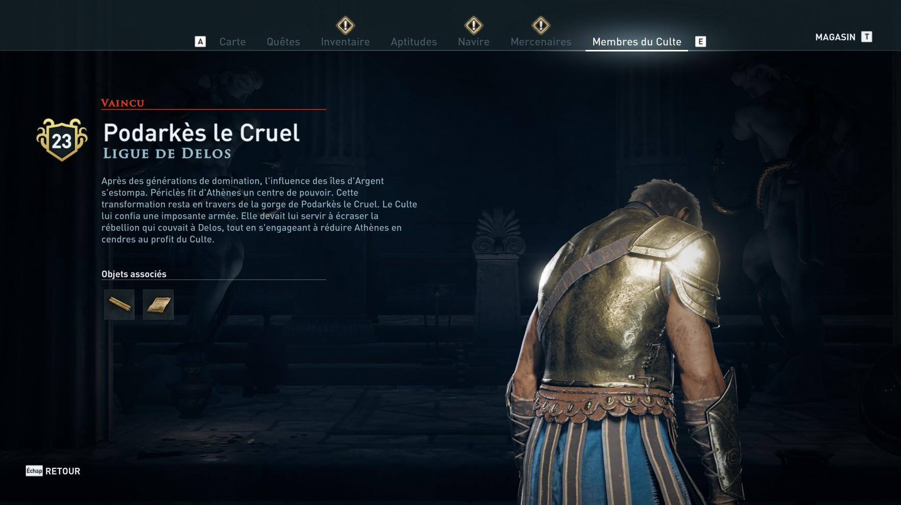 Assassin's Creed Odyssey trouver et tuer les adeptes du culte du Kosmos, ps4,, xbox one, pc, ubisoft, jeu vidéo, podarkes le cruel