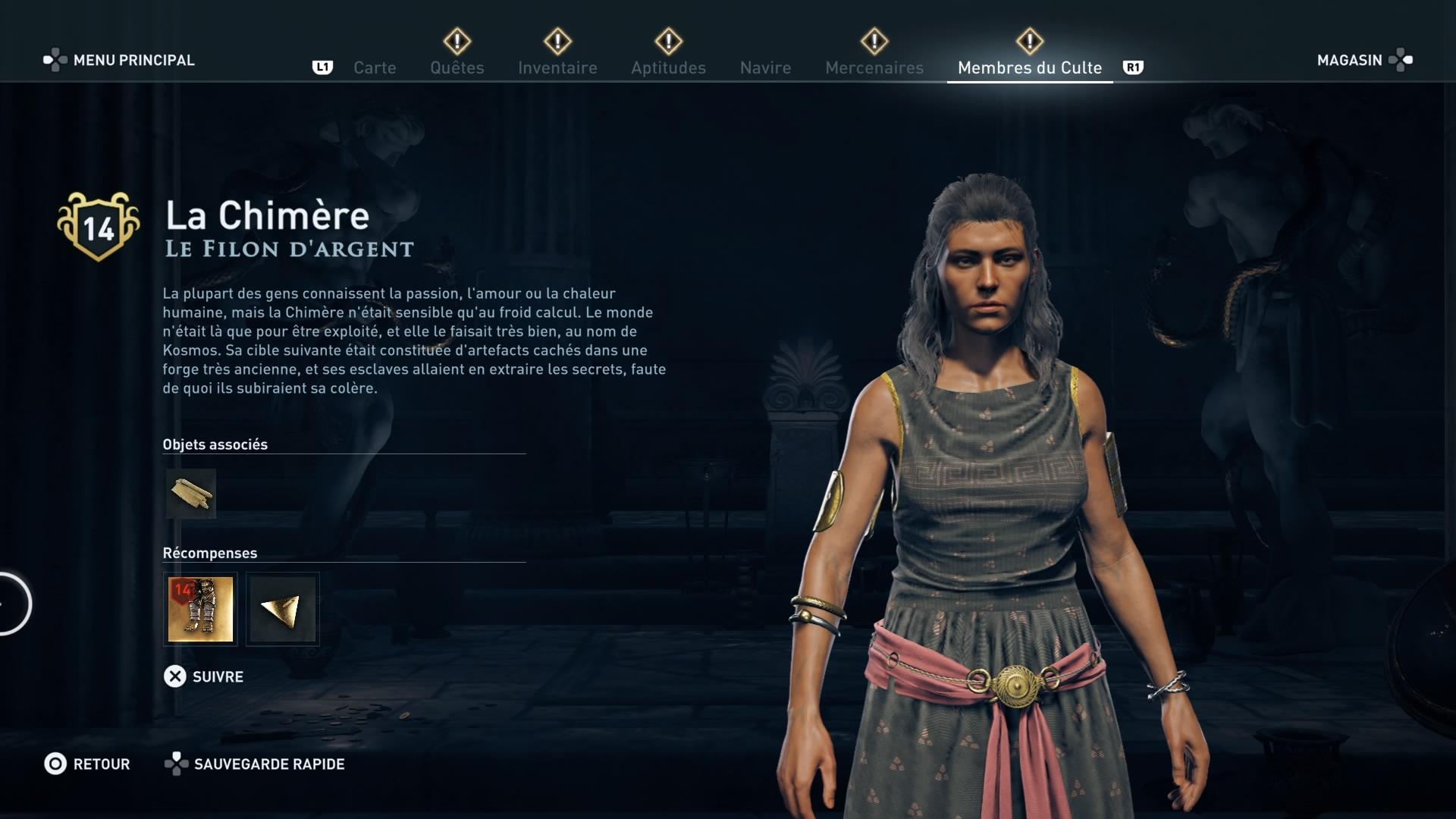 Assassin's Creed Odyssey trouver et tuer les adeptes du culte du Kosmos, ps4, xbox one, pc, ubisoft, jeu vidéo, Le filon d'argent, la chimère