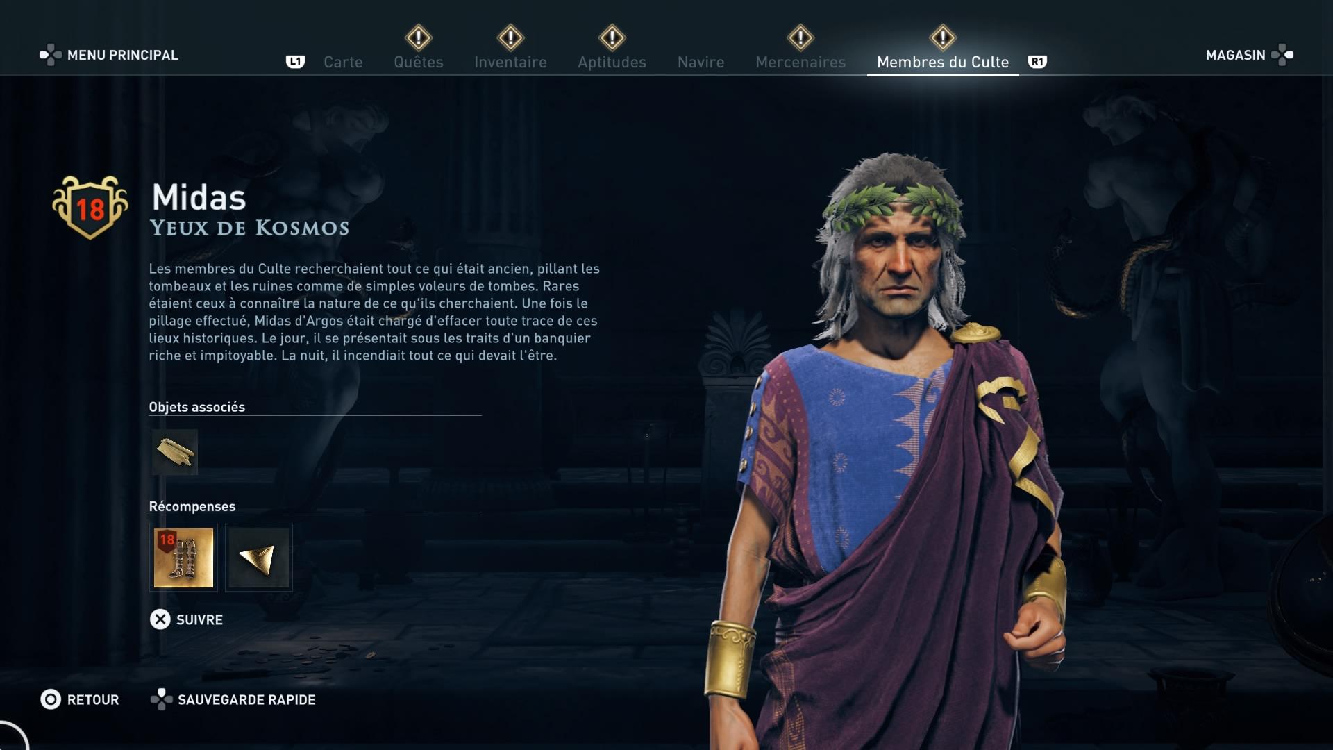 Assassin's Creed Odyssey trouver et tuer les adeptes du culte du Kosmos, ps4, xbox one, pc, ubisoft, jeu vidéo, Yeux de Kosmos,, midas