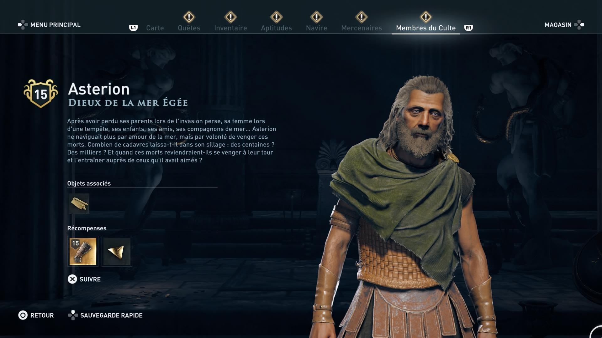 Assassin's Creed Odyssey trouver et tuer les adeptes du culte du Kosmos, ps4, xbox one, pc, ubisoft, jeu vidéo, Dieux de la mer Egée, asterion