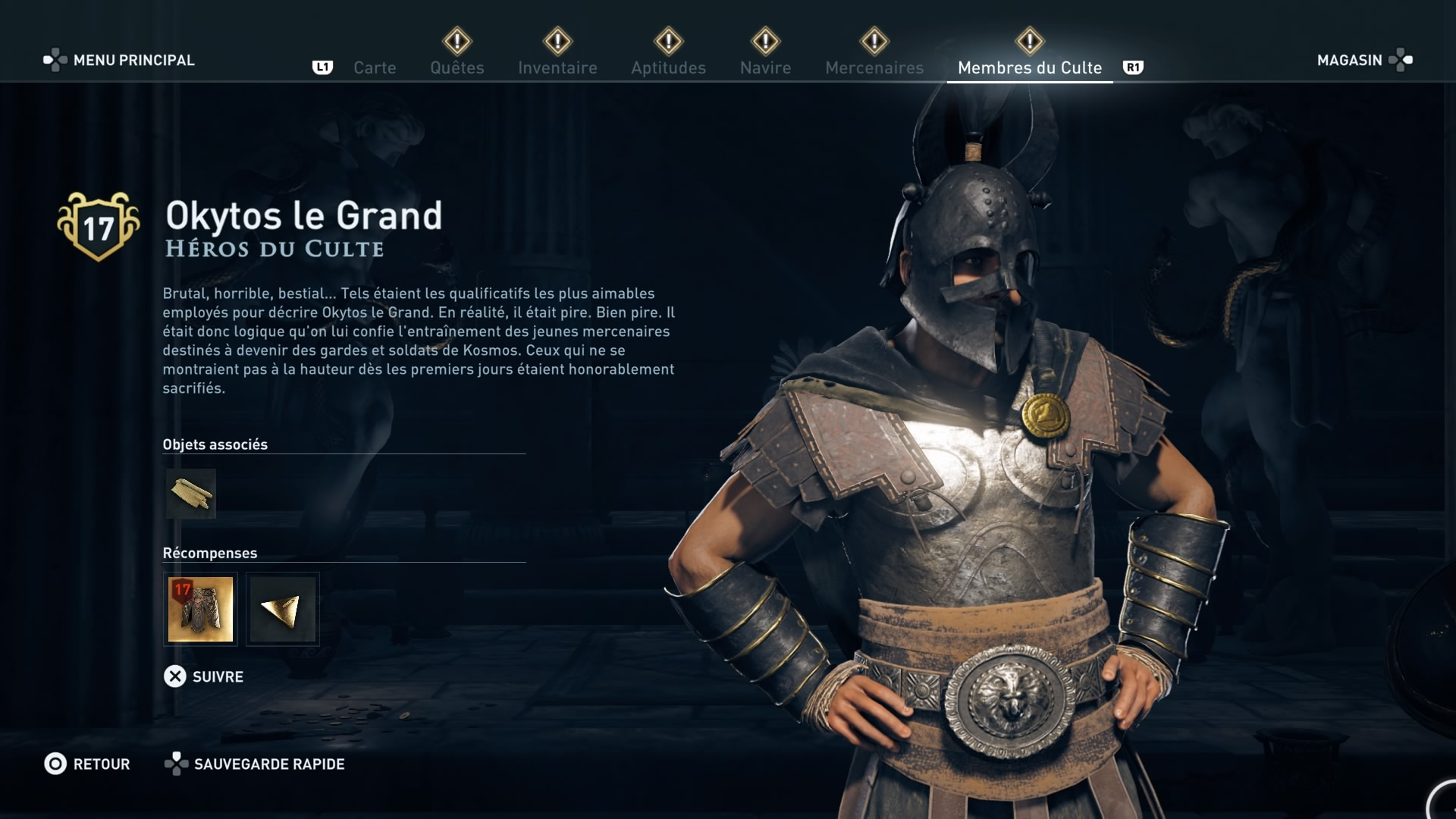 Assassin's Creed Odyssey trouver et tuer les adeptes du culte du Kosmos, ps4, xbox one, pc, ubisoft, jeu vidéo, les héros du culte, okytos le grand
