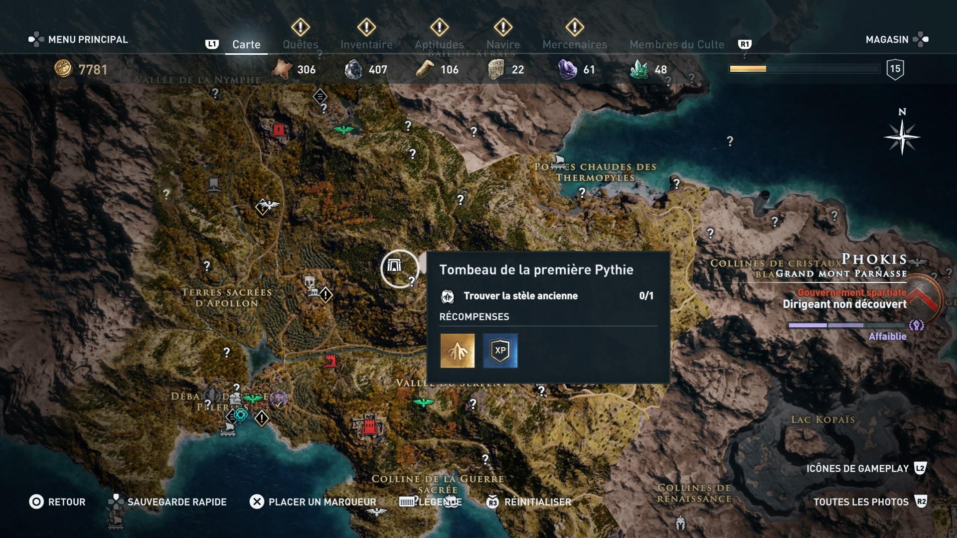 assassin's creed odyssey, ps4, xbox one, pc,u ubisosft, soluce, astuce, emplacement tombeau et stèle ancienne, phokis, tombeau de la première pythie