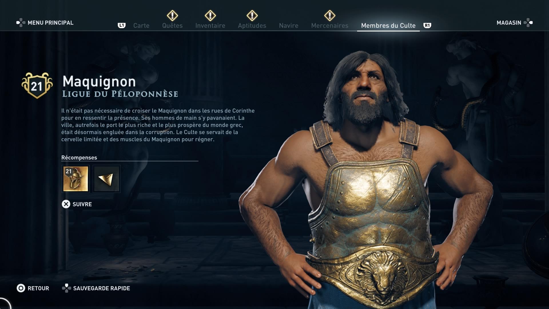 Assassin's Creed Odyssey trouver et tuer les adeptes du culte du Kosmos, ps4, xbox one, pc, ubisoft, jeu vidéo, Maquignon , ligue du péloponèse