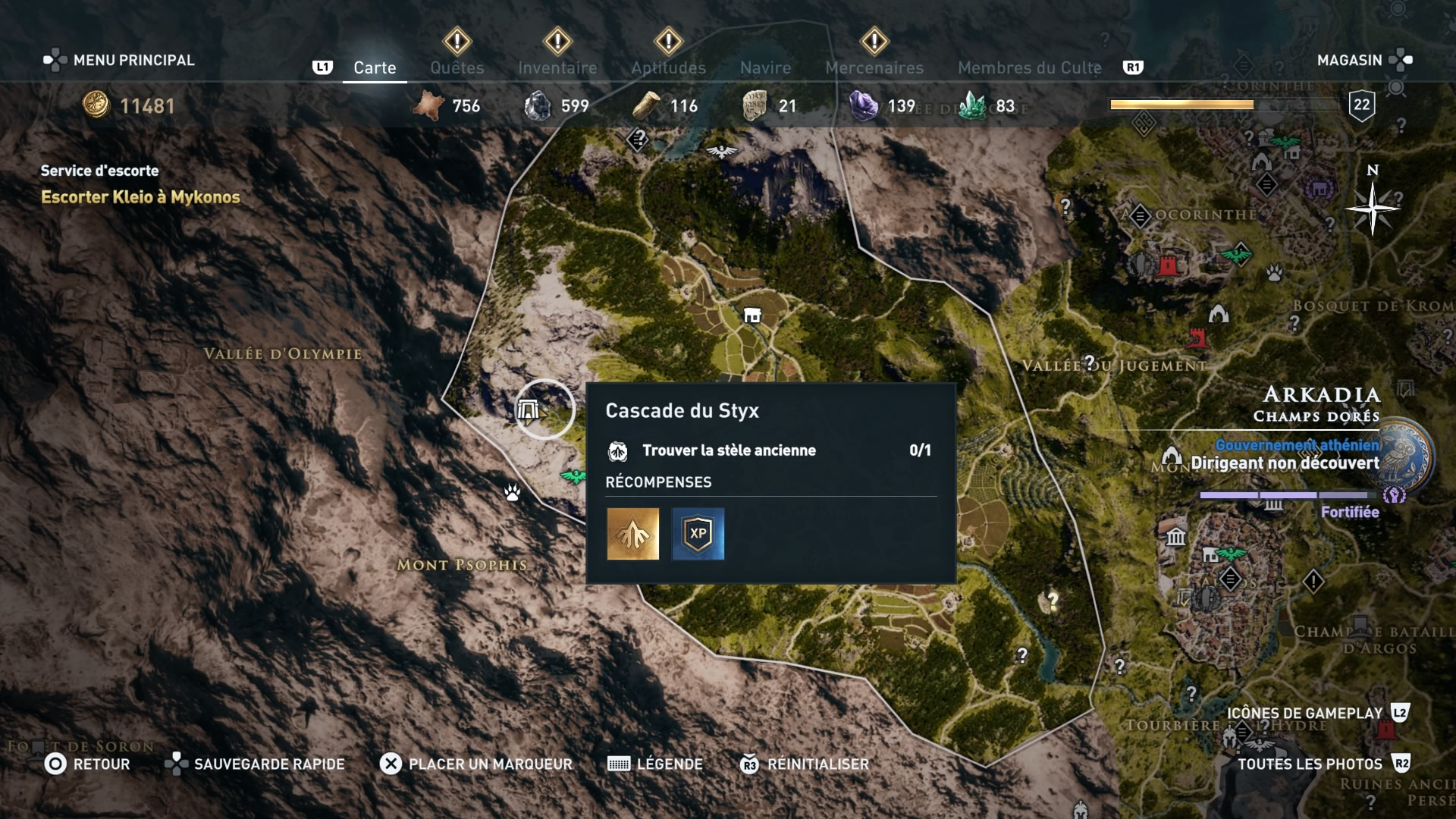 assassin's creed odyssey, ps4, xbox one, pc,u ubisosft, soluce, astuce, emplacement tombeau et stèle anciennes d'arkadia, cascade du styx