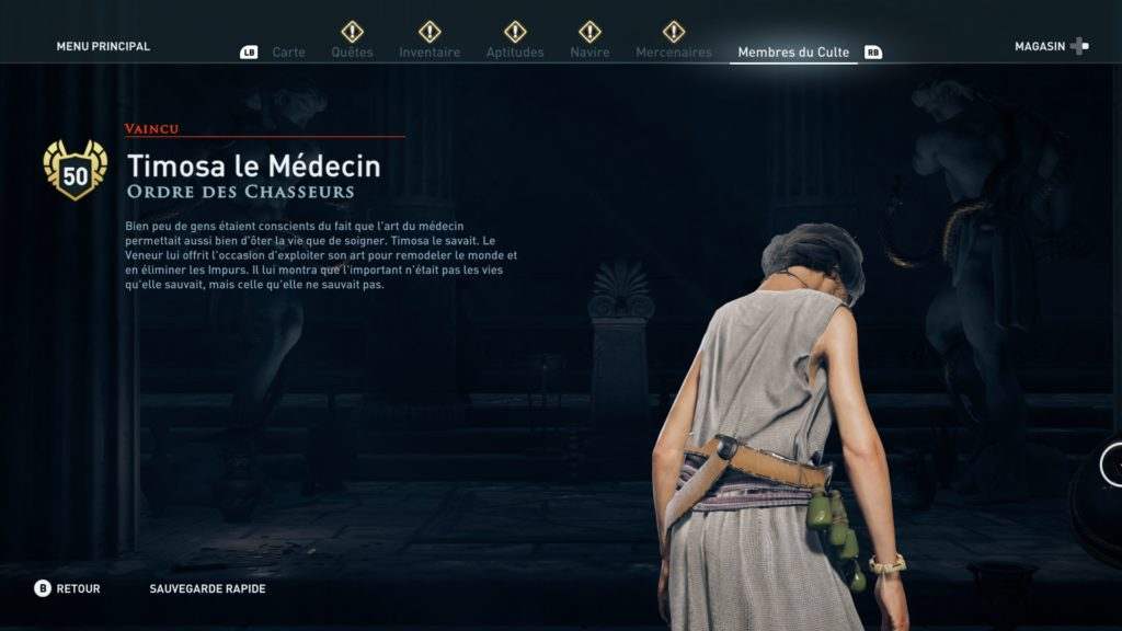 Assassin's Creed odyssey ordre des anciens soluce emplacement heritage legs de la première lame